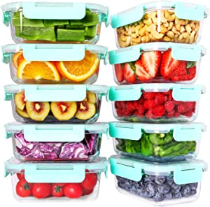 Bayco 10 Pack Glass Meal Prep Containers, Glass Food Storage Containers with Lids, Airtight Glass Lunch Bento Boxes, BPA-Free & FDA Approved & Leak Proof (10 lids & 10 Containers)