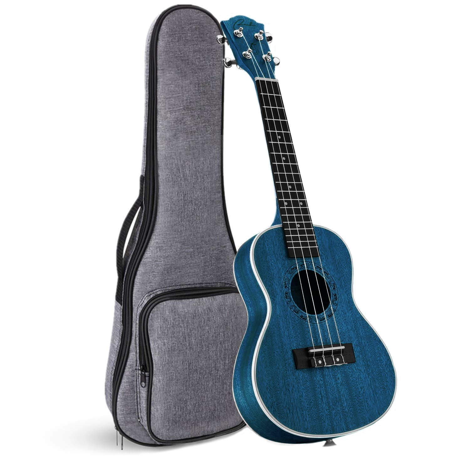 Concert Ukulele Ranch 23 inch Professional Wooden ukelele Instrument with Free Online 12 Lessons and Gig Bag - Small Hawaiian Guitar - Starry Blue by Ranch