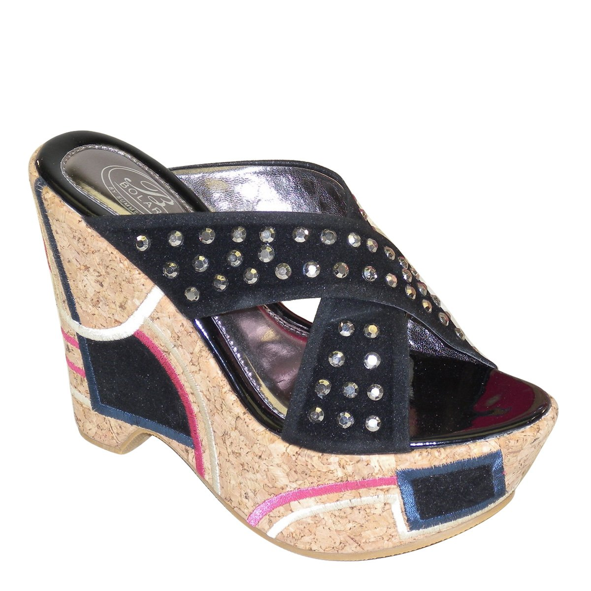 New Brieten Women's Rhinestone Studded Cross Strappy Wedge Platform Slide Sandals B00IFU4XTQ 7 B(M) US|Black