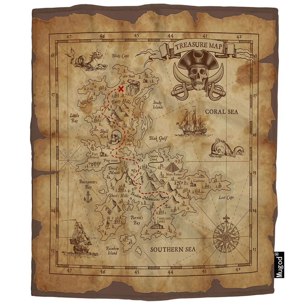 Mugod Map Blanket Pirate Treasure Map Ruined Old Parchment Island Skull Fuzzy Soft Cozy Warm Flannel Throw Blankets Decorative for Adults Kids Women Men Girls Boys 60x80 Inch