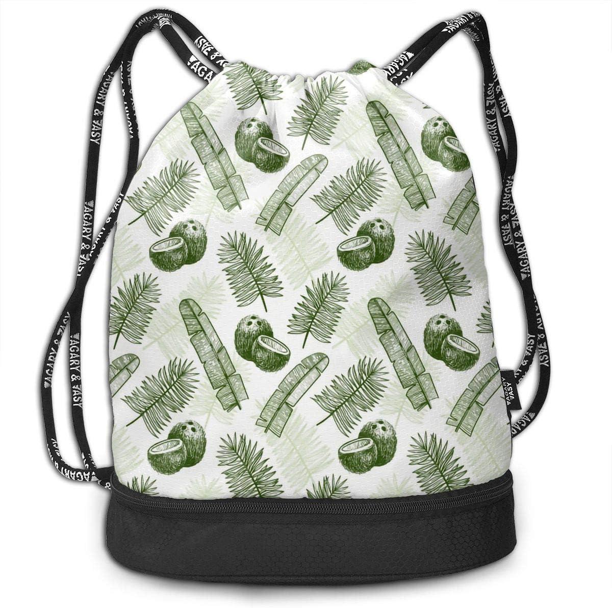 Drawstring Backpack Tropical Coconuts Rucksack