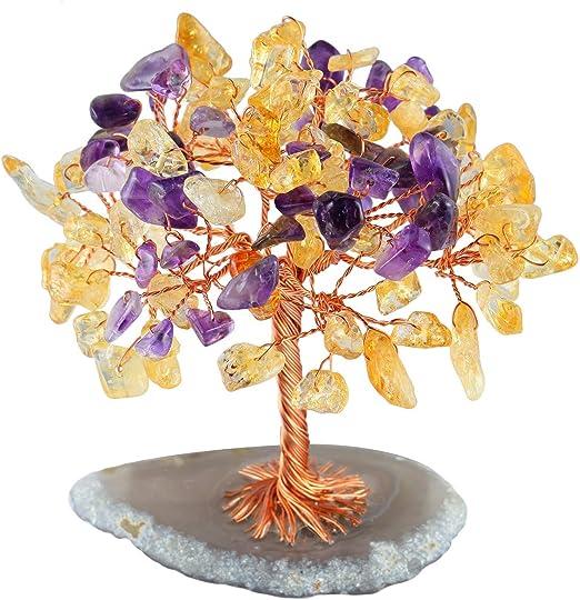 mookaitedecor Árbol de Dinero, Gemas Feng Shui Adornos de árbol de ...