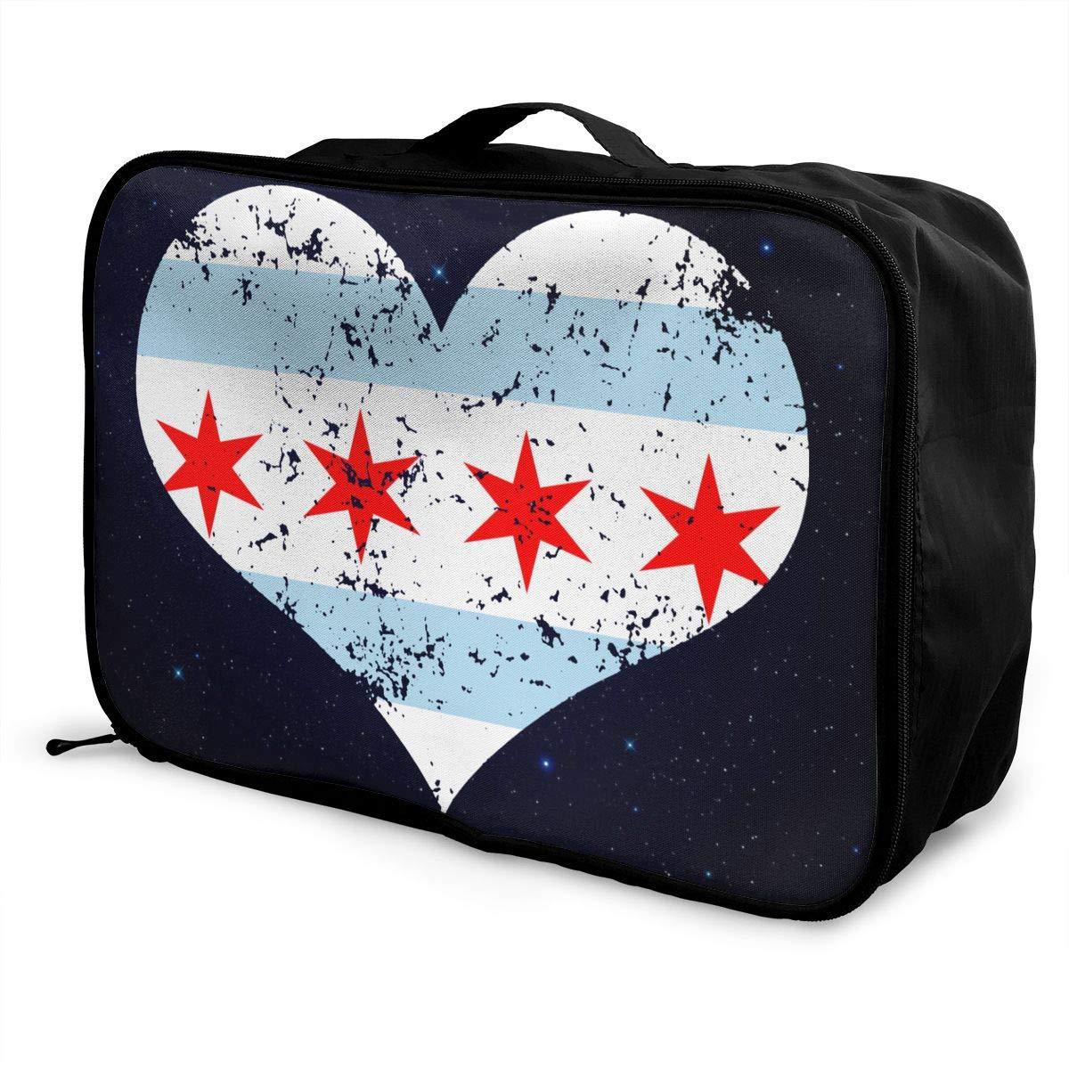 Chicago Heart Flag Luggage Bag Capacity Portable Large Travel Duffel Bag Makeup Storage
