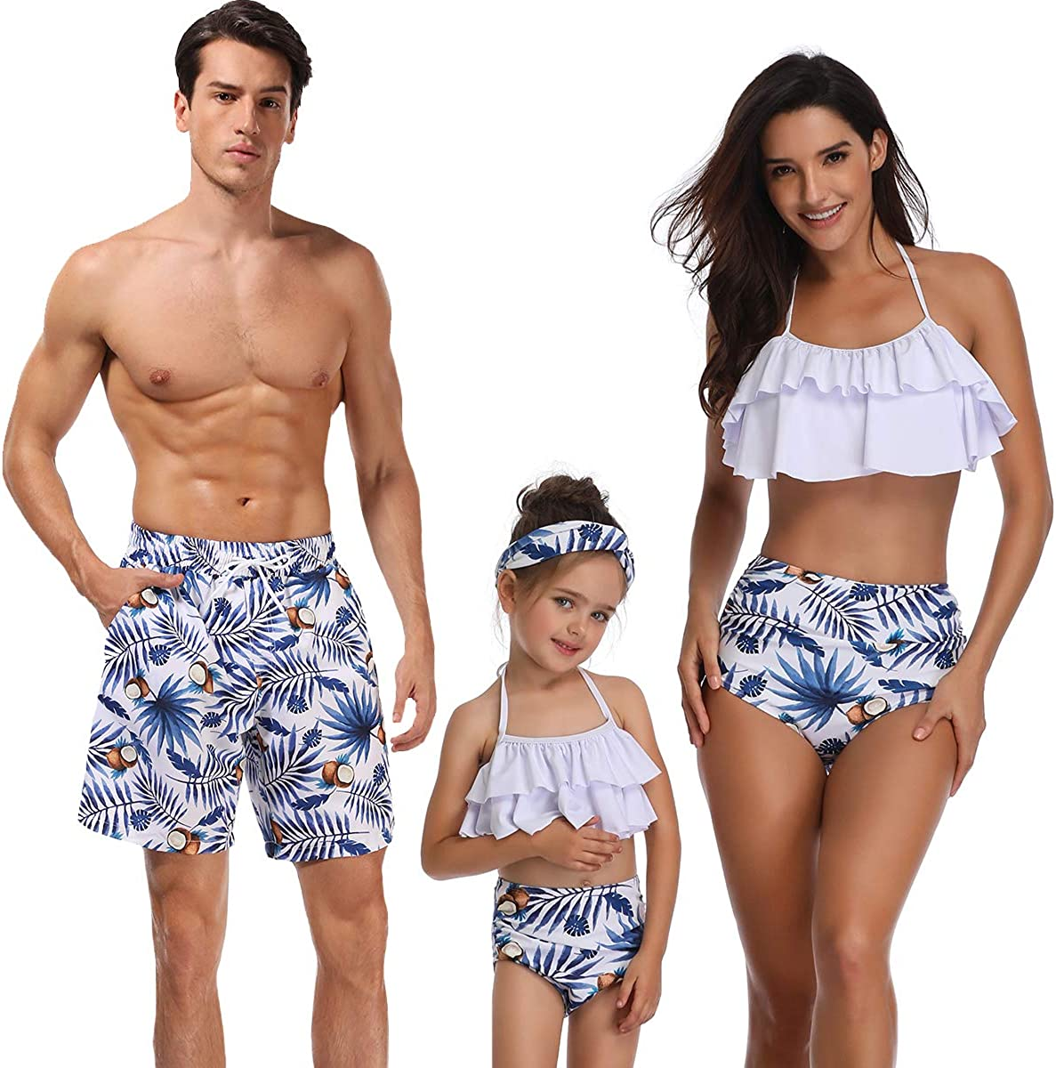 UK Family Matching Mens Women Kids Boys Girls Swimsuit Swimwear Bathing Bikini