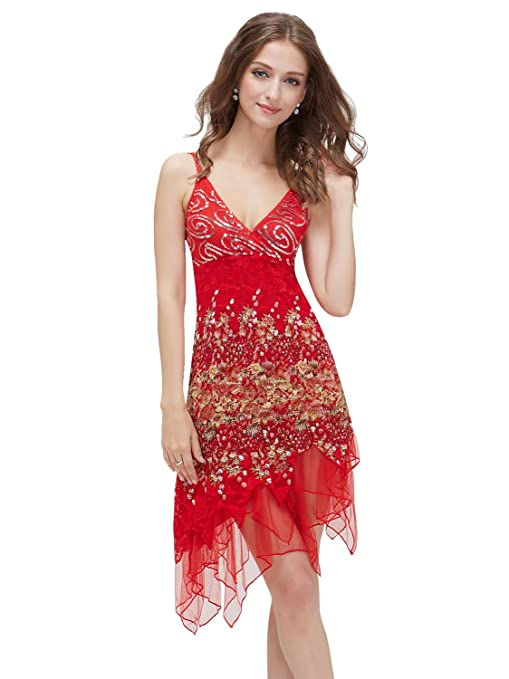 Ever Pretty Vogue Lace Sequined V-neck Chic Cocktail Party Club Dress 00045: Amazon.co.uk: Clothing