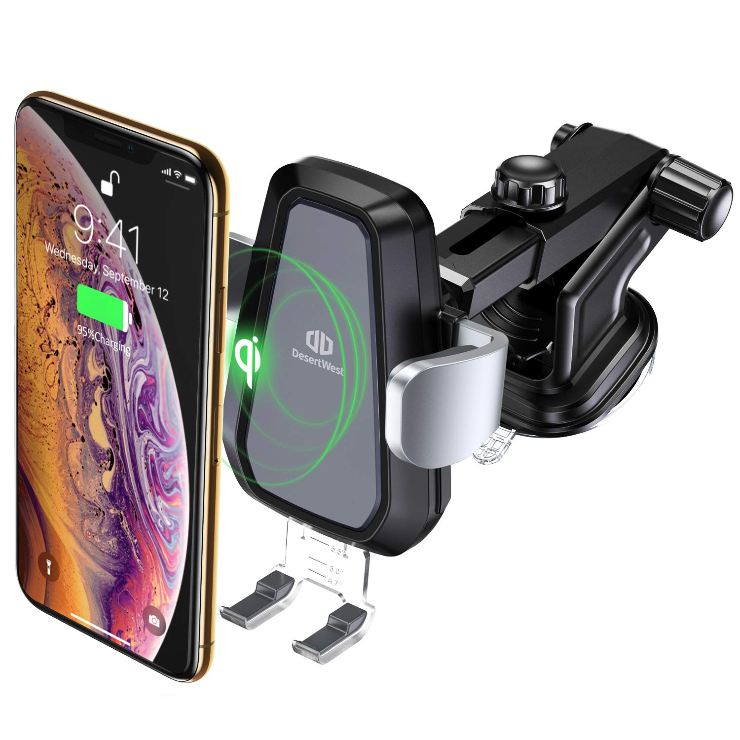 DesertWest Wireless Car Charger Mount, Automatic 10w Qi Fast Charging Car Phone Holder Dashboard Air Vent Compatible Samsung Galaxy S8 S8 Plus/ S9 S9+ S7 S7 Edge, iPhone 8/ 8Plus/X/XS/XS Max