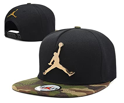 Jordan Snapback Sombreros/Gorras (Negro con el Logotipo de Metal, Camuflaje ala)