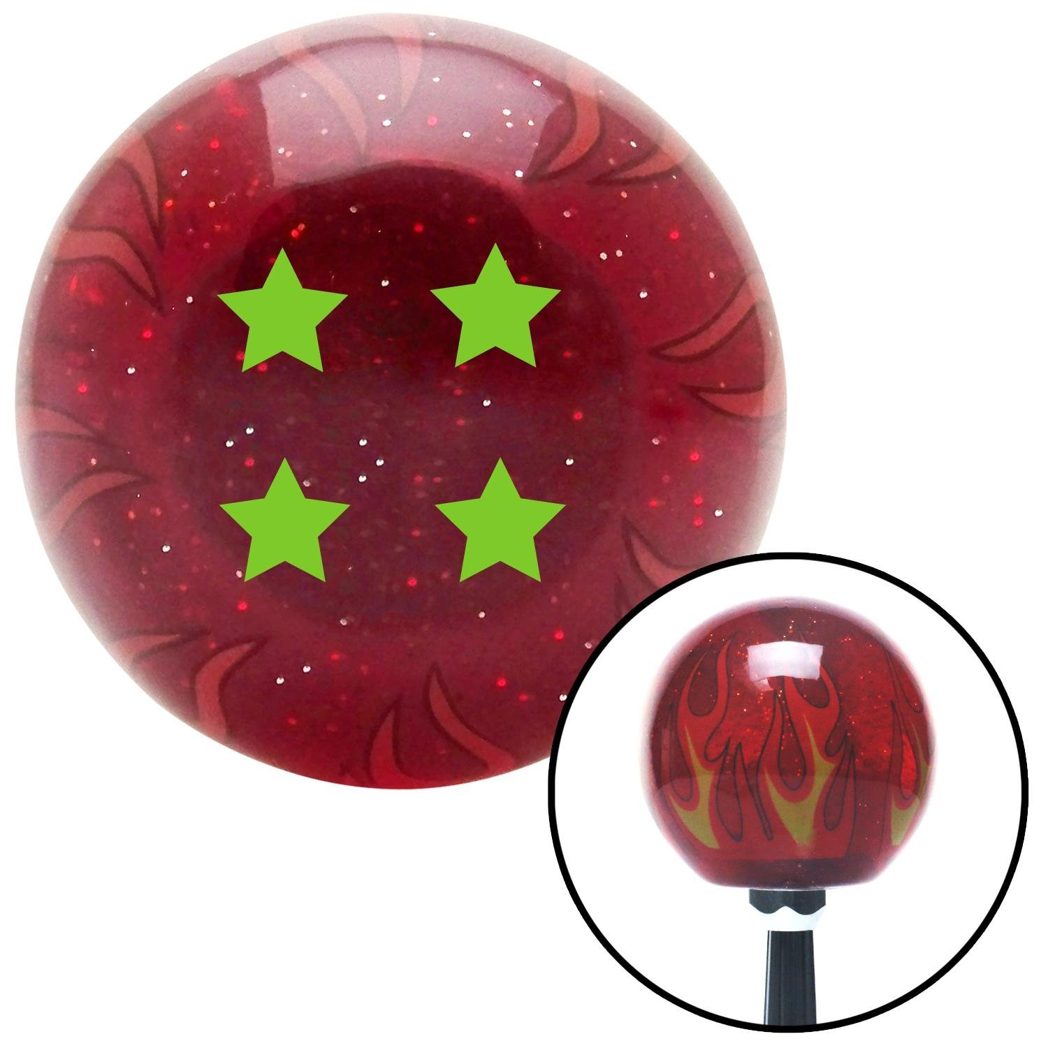 American Shifter 239441 Red Flame Metal Flake Shift Knob with M16 x 1.5 Insert Green 4 Stars