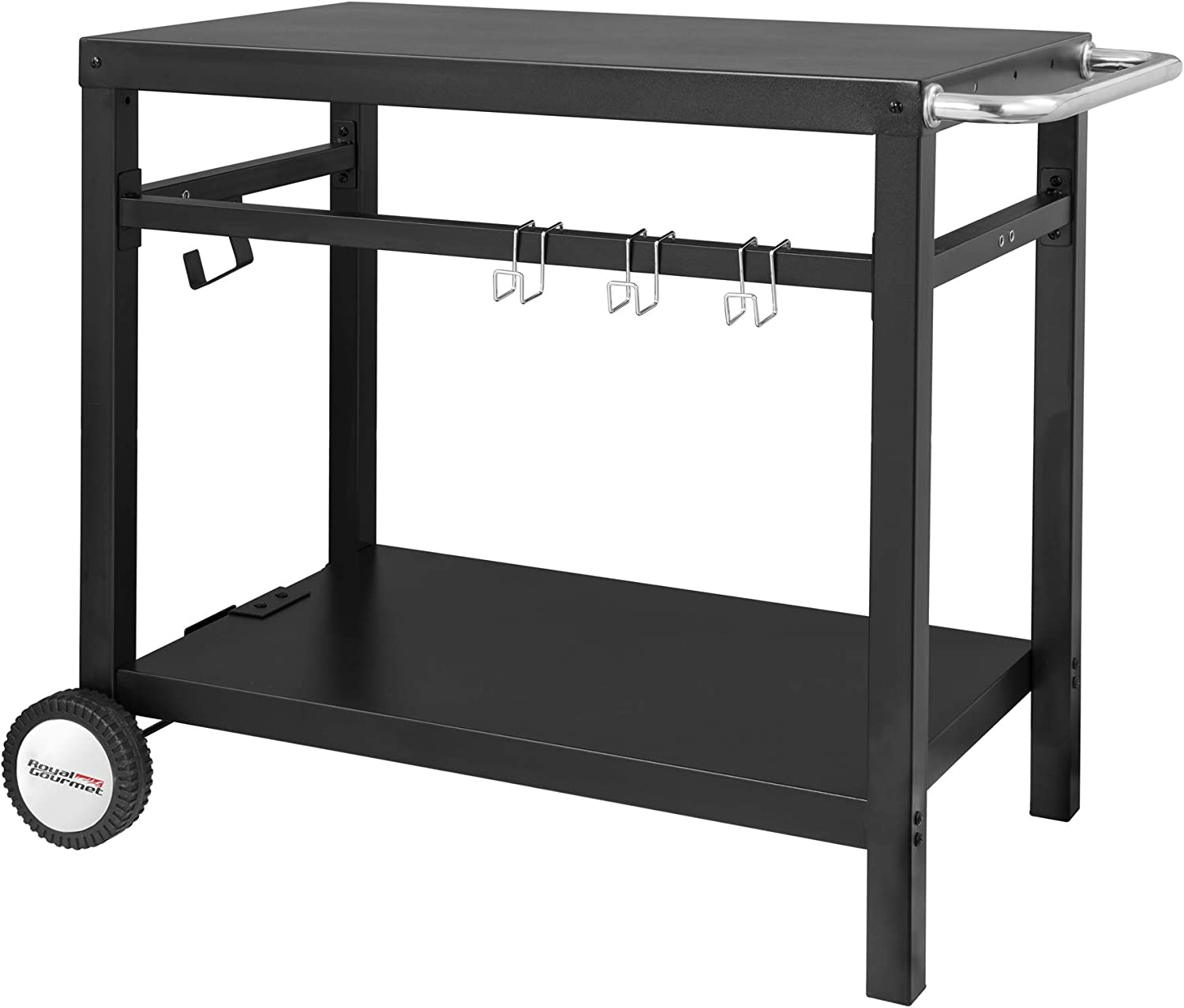 Royal Gourmet Double-Shelf Movable Dining Cart Table, Commercial Multifunctional Steel Flattop Worktable PC3401B - Tables