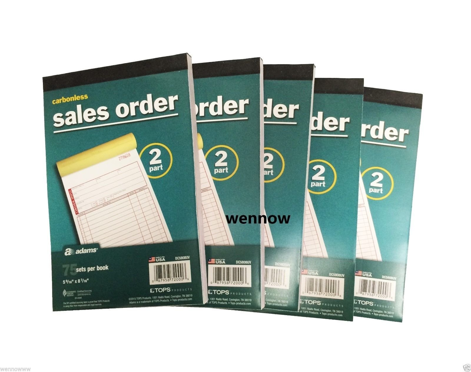 Wennow 5pk Sales Order Book Carbonless 2 part Adams DC5808UV BRAND NEW invoice