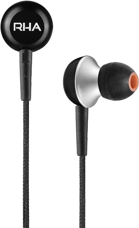 RHA MA350 Earbuds in-Ear Noise Isolating Headphones Black - 3 Year Warranty