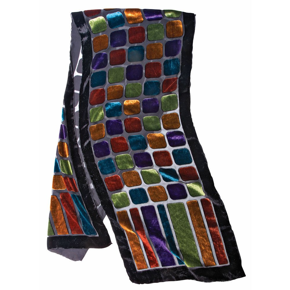 Women's Fashion Scarf - Stained Glass Velvet Scarf with Black Border