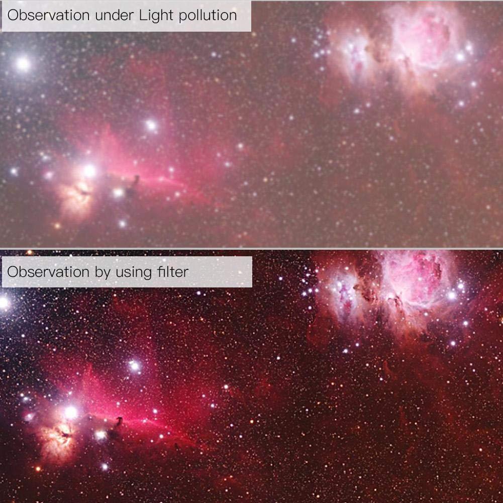 1.25 pulgadas Astronom/ía Filtro Lente Accesorios para la observaci/ón de la ciudad y los suburbios Telescopio Filtro de lente UHC Deep Sky Light Alto contraste Contraste Telescopio Ocular Filtro