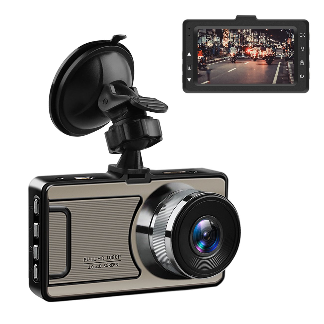 Favoto Dash Cam Full HD 1080P 12 Megapixel Camera 3'' Large LCD Screen 170° Wide Angle Lens Car Camera Recorder with G-Sensor WDR Night Vision Loop Recording Motion Sensor by Favoto (Image #1)