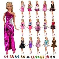 Miunana 22 Pezzi = 12 PCS Abiti Vestiti Vestito Abito Clothes Dresses Alla Moda Fashion + 10 PCS Scarpe Selezionati A Caso Per Principessa Bambola Barbie Dolls Regalo Di Compleanno Festa (Passato CE CERTIFICAZIONE)