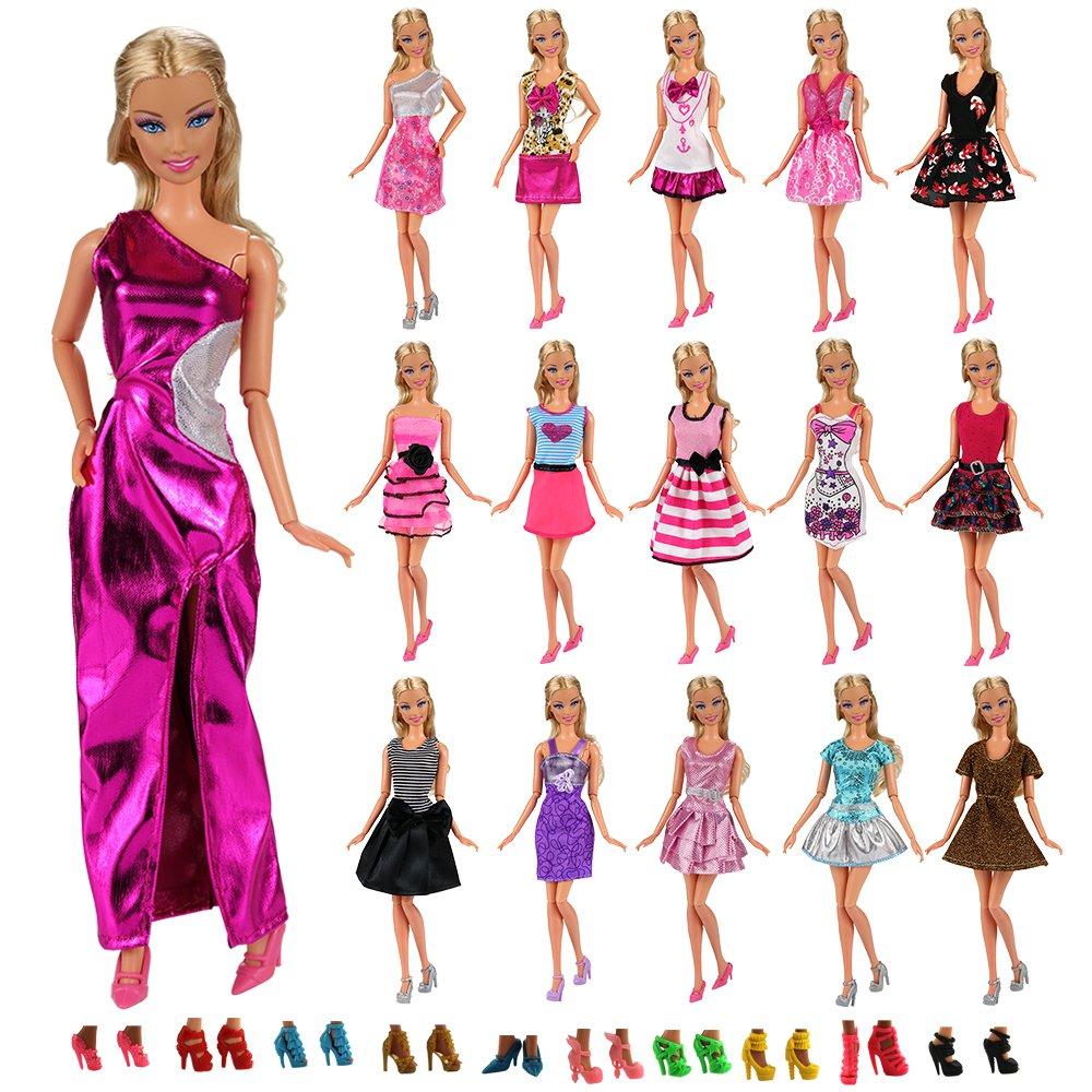 Miunana 12 Piezas Vestido Fashion Falda Mini Fiesta Ropas Casual + 10 Zapatos Accesorios como Regalo