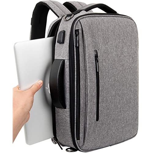 SLOTRA Laptop Briefcase Convertible Laptop Backpack 15.6 Inch Laptop Bag Messager Bag Multi-function Backpack with USB Charging Port for Business College Grey