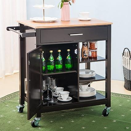Amazon.com - Merax Kitchen Storage Cart with Drawer and ...
