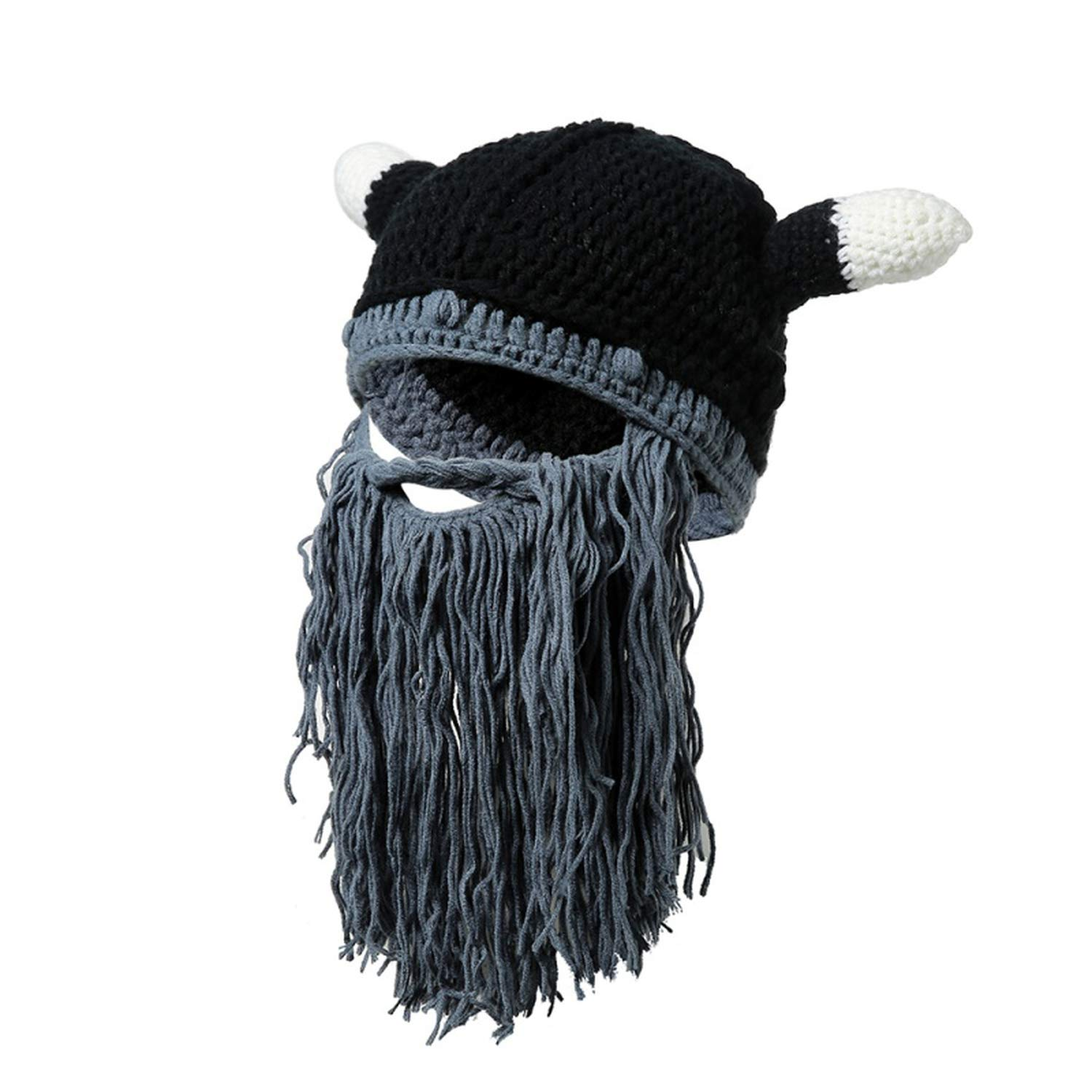 Men Barbarian Vagabond Viking Beanie Beard Horn Hats Handmade Funny Gag Halloween Cap Winter Warm Gifts