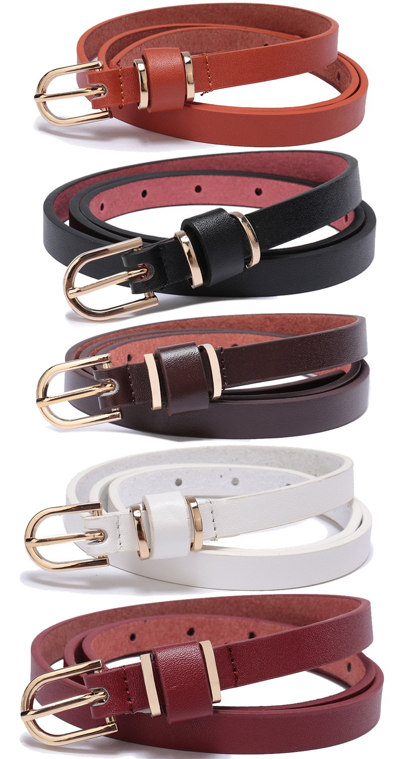 Set of 5 Women's Skinny Leather Belt Solid Color Waist or Hips Ornament 10 Sizes (46-48, Set of 5 belts 1/2 wide) by beltox fine
