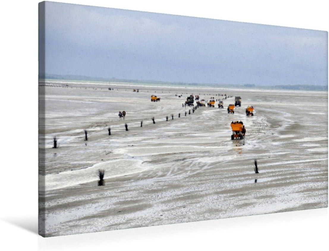 CALVENDO Premium Lienzo de Tela 75 cm x 50 cm Horizontal, Mar del Norte, Imagen sobre Bastidor, Lienzo de Lienzo, impresión en Lienzo: con la carruaje de Caballos en vatios Natural, Natural