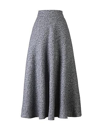 5b3fc4d69bd Scothen Femme A-Ligne Jupes+T-Shirt de Laine Jupes Vintage avec Taille
