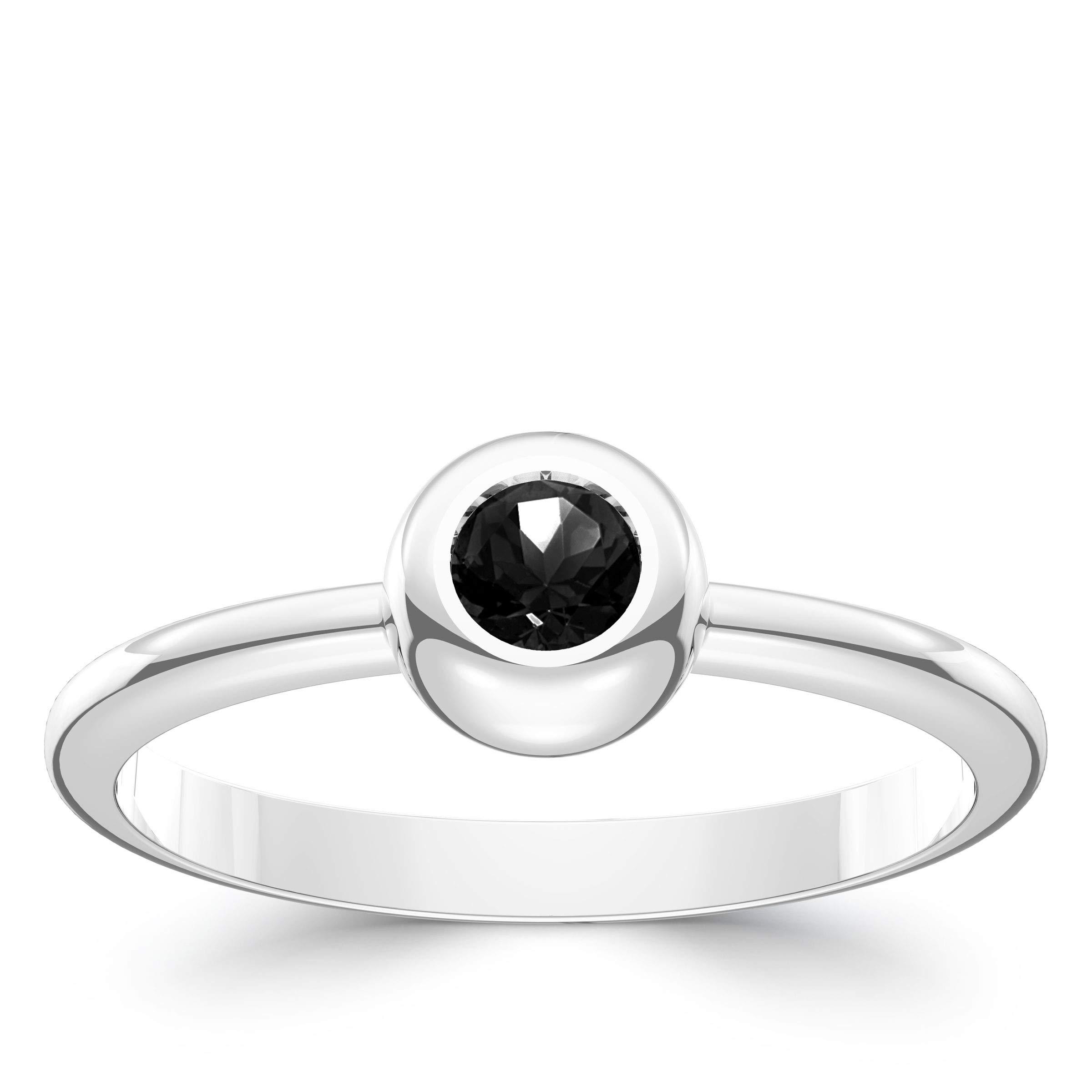 Gumdrop Black Diamond Ring in Sterling Silver by Bixler