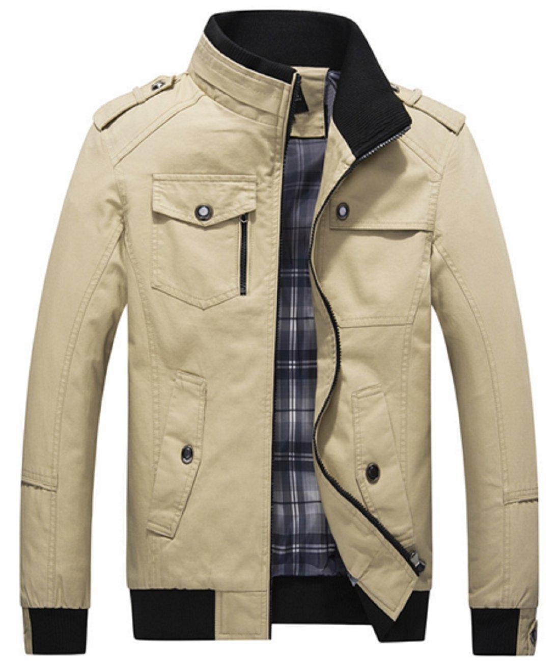 Olrek Men's Autumn and Fall Stand Colllar Outerwear Jacket Coat(Khaki,Medium)