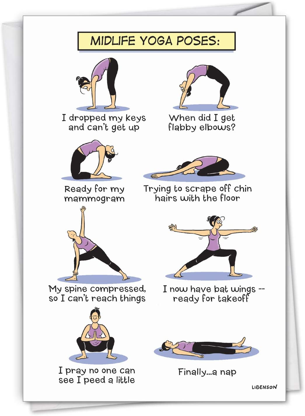 Amazon Com Nobleworks Midlife Yoga Poses Funny Happy Birthday Card For Women Wife Cartoon Notecard For Birthday Woman C7312bdg Office Products