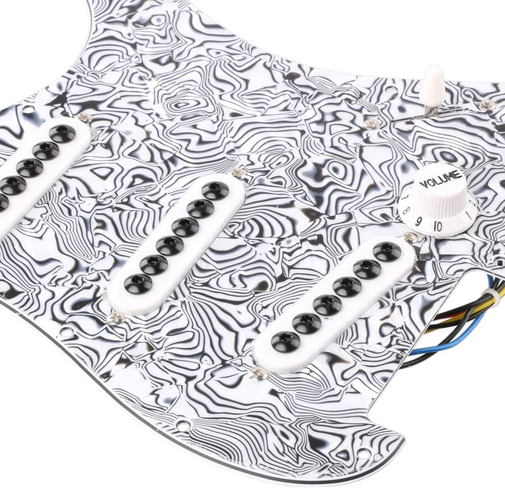 LYWS Prewired Loaded Pickguard SSS Pickup Guard Plate for Fender Strat Stratocaster ST Electric Guitar