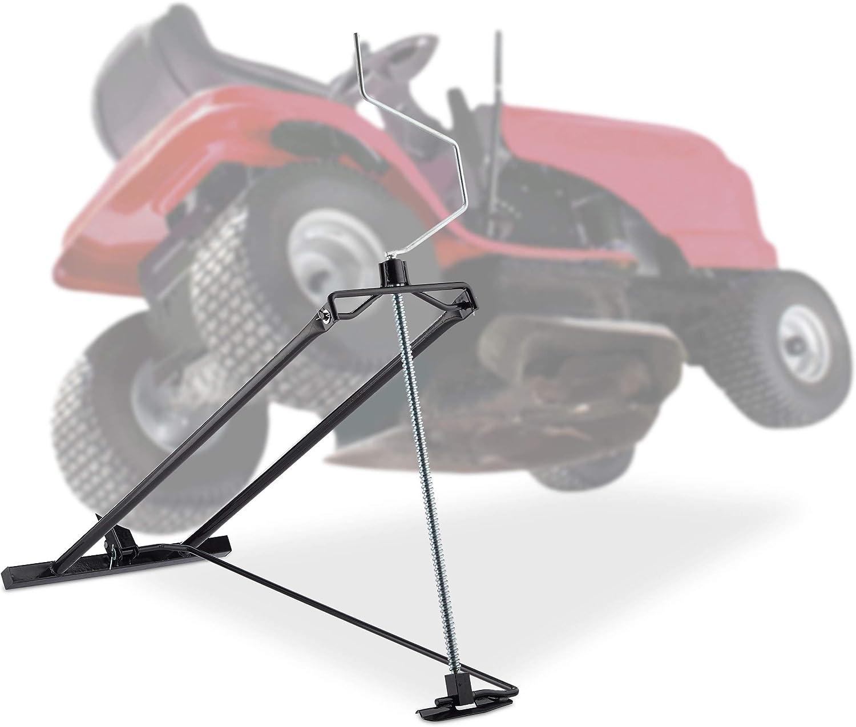 Relaxdays Elevador Cortacésped 400 kg, Gato Quad y Tractor, Ángulo de Inclinación Ajustable, 1 Ud, Acero, Negro