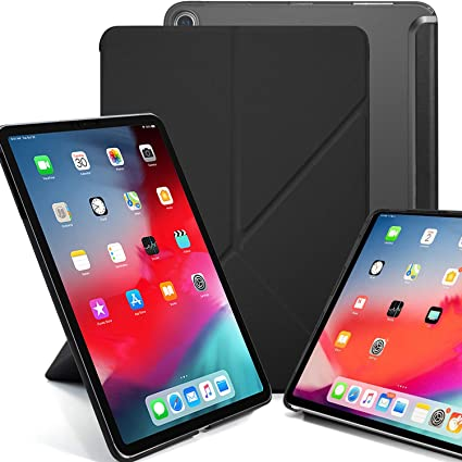 on sale 48c74 7e97e KHOMO iPad Pro 11 Inch Case (Released 2018) - Dual Origami Series - See  Through Back and Horizontal and Vertical Display - Black