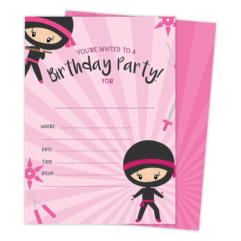 Amazon.com: Ninja Girl 1 tarjeta de invitaciones de ...