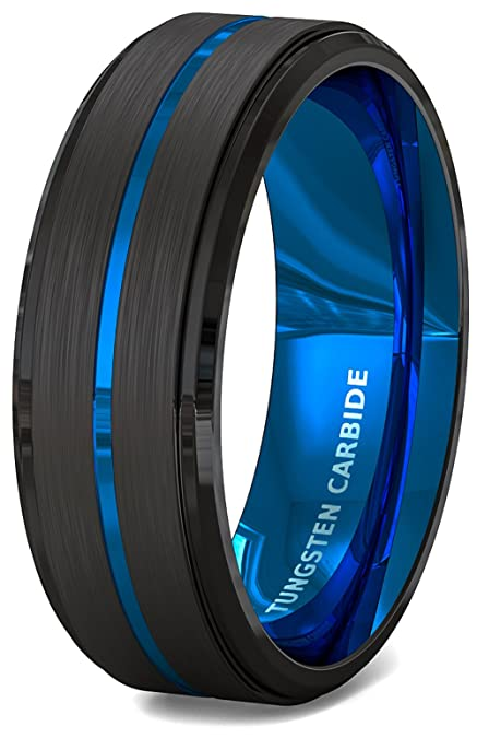 Duke Collections Mens Wedding Band 8mm Black Brushed Tungsten Ring
