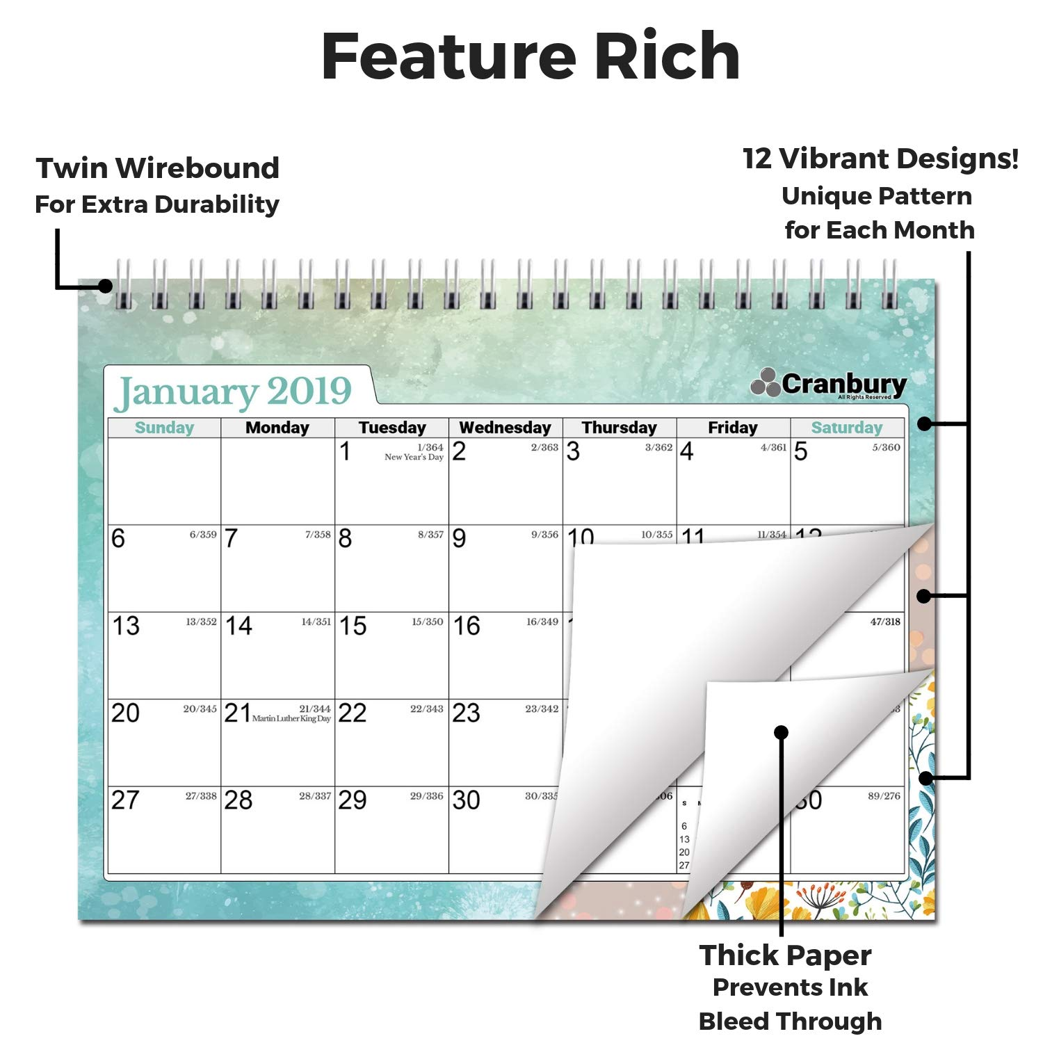 Cranbury Small Desk Calendar 2019 Monthly: Flip Desktop Counter Top Calendars with Bonus Planner Stickers for Family and Office, 8''x6'' (Colorful), Sturdy, USE Now Through December 2019 by Cranbury (Image #3)