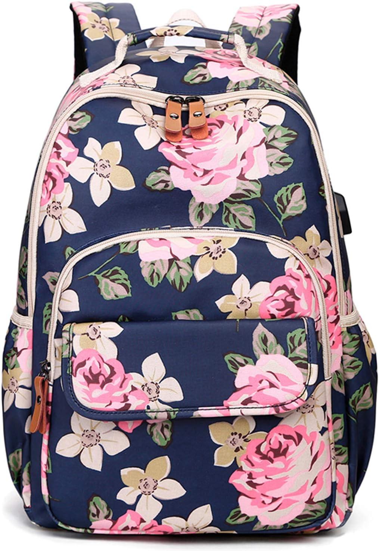 CAMTOP Backpack for School Girls Bookbag Laptop Backpack Teens Middle School Bag Causal Travel Daypack (Navy Flower/USB)