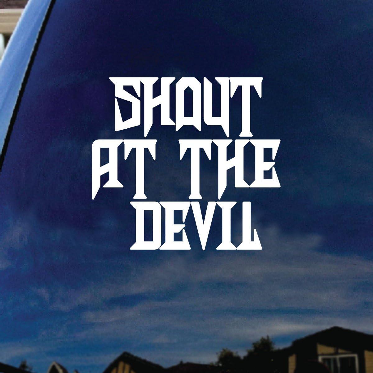 "SoCoolDesign Shout At The Devil Lyrics Band Car Truck Laptop Sticker Decal 6"" Tall (White)"