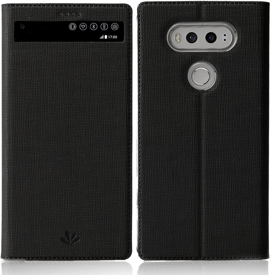 LG V20 case ,Feitenn Premium Flip Leather PU Wallet View Window Smart Case Stand Kicstand Card Holder Magnetic Closure TPU Bumper Slim fit cover case for LG V20 (Black)