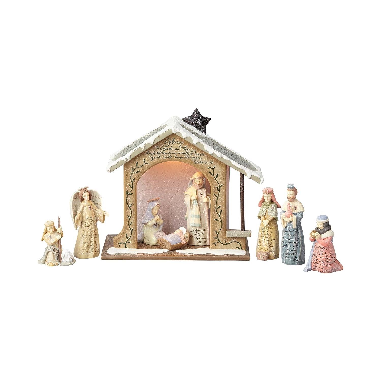 Amazon Foundations Nativity Set with Stone Resin Figurines Set