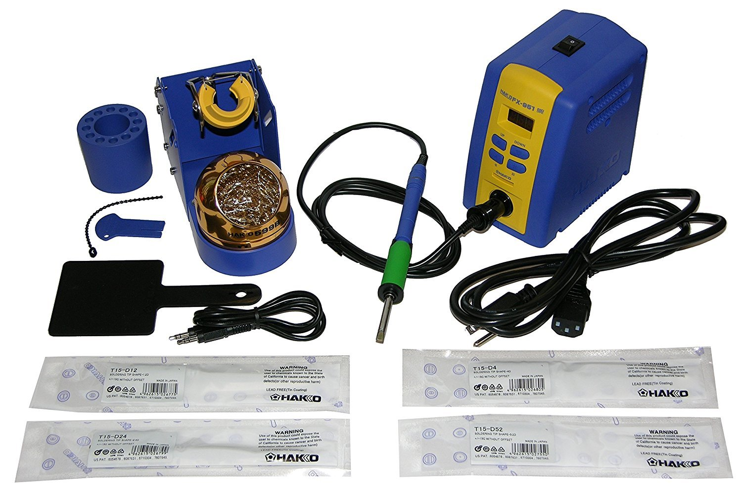 Hakko FX951-66 Professional Soldering Station with Chisel Tip Bundle. Inlcudes the following chisel tips: T15-D12, T15-D24, T15-D4, T15-D52.