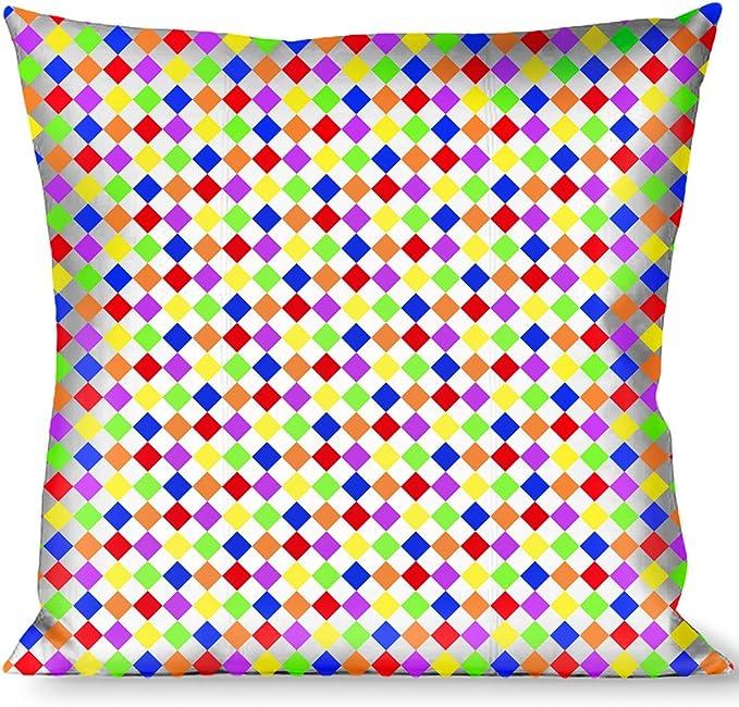 Multicolor Buckle Down Diamonds Black//Multi Neon Throw Pillow