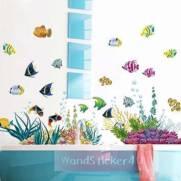 WandSticker4U  Wandtattoo U0026quot;Unterwasserweltu0026quot; Bunt |  Effektbild:130x42cm | Meer Fische Aquarium