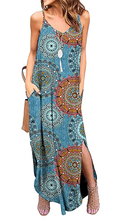 Kyerivs Women's Summer Dress Casual Loose Beach Cover Up Long Plain Print Cami Maxi Dresses with Pocket Bohemian M (10-12)