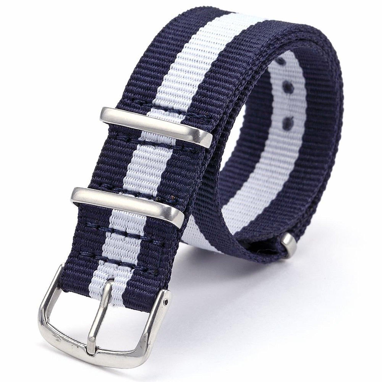 Fanmis 20 mmブルー&ホワイトArmyナイロンスポーツ腕時計バンドストラップメンズレディース  B012L0Q2HQ