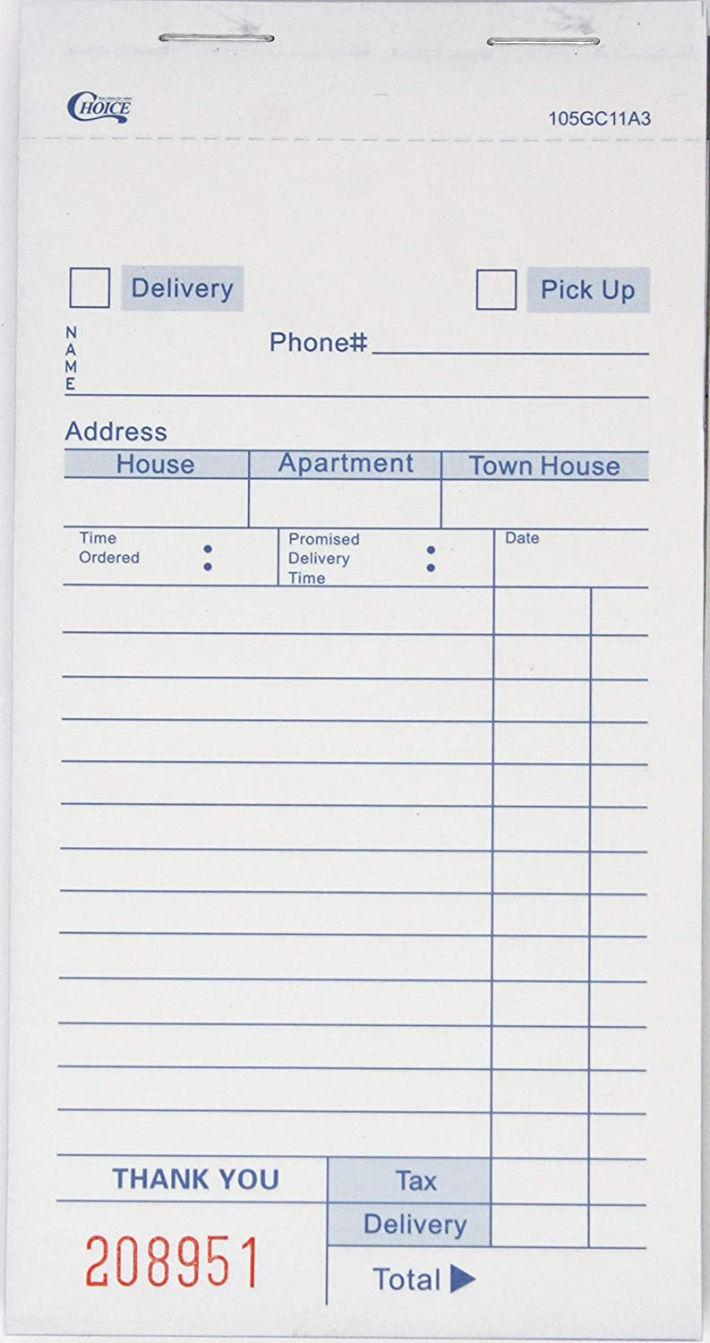 Choice White Delivery Order Form Paper, Carbonless 3 Part Book 50 Sheets (10 Pack - 500 Total Sheets)