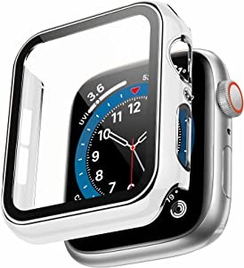 Swhatty Case Compatible with Apple Watch 44mm 40mm 42mm 38mm, Bumper Built in Tempered Glass Screen Protector, Protective Cover for iWatch Series SE 6 5 4 3 2 1 Women Men (Silver Edge White, 44mm)