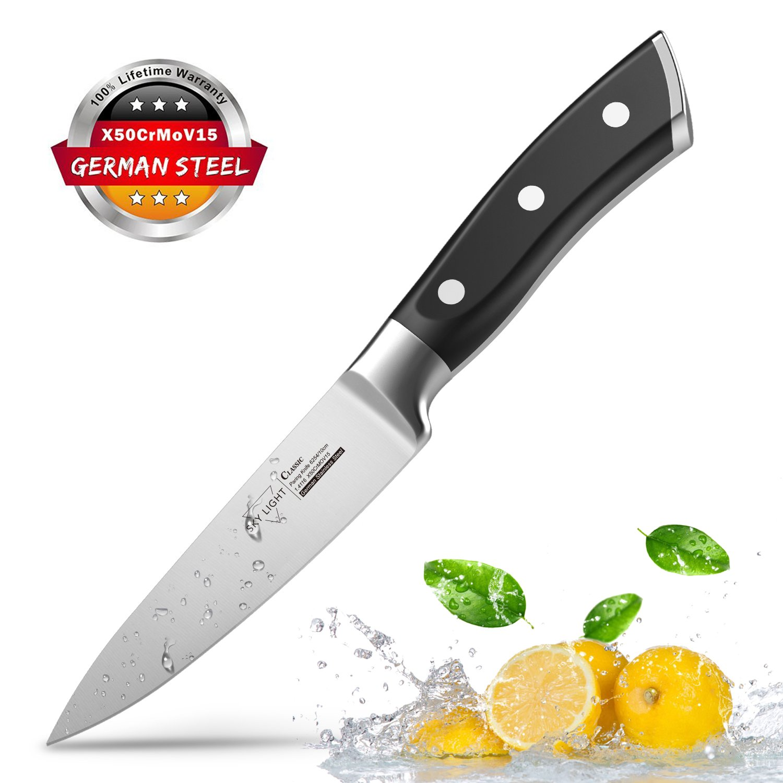 Paring Knife Fruit Knife Peeling Knife,4 Inch German HC Stainless Steel Sharp Blade with Non Slip Ergonomic Handle