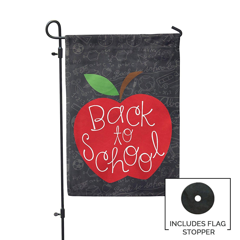 Back to School Apple Garden Flag Outdoor Patio Seasonal Holiday Fabric 12.5''X18''