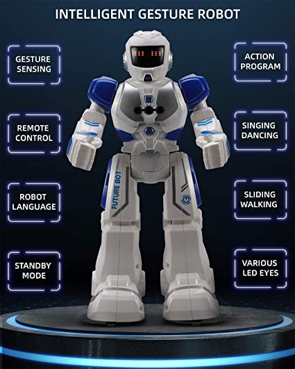 Ruko Robots for Kids Intelligent Programmable Robot with Remote and Hand Gestures Control Toys for Boys and Girls Blue