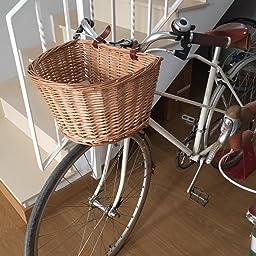 Hecho A Mano Cesta Delantera de Bicicleta de Mimbre con Correas de Cuero Sothat Retro